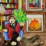 Heather Torres Art   Kazoo   watercolor painting of stuffed monkey wearing smoking jacket and drinking scotch with portrait of man over fireplace.