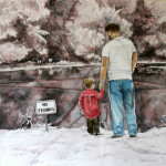 Heather Torres Art | A Father's Love | watercolor painting of father holding sons hand