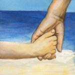 Heather Torres Art   Hands   watercolor painting of child holding mother's hand