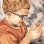 Heather Torres Art | At First Sight | watercolor painting of portrait of young boy holding a baby chicken