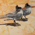 Heather Torres Art | Seagulls | watercolor painting of seagulls on the beach with geometric background