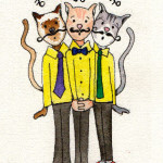 Heather Torres Art | Whiskers Trio | watercolor illustration of three cats singing like barber shop singers
