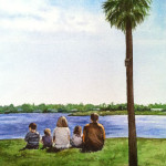 Heather Torres Art | Becca's Family | watercolor painting of grandparents and grandchildren at a lake