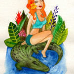 Heather Torres Art | Florida Girl and Her Gator | watercolor illustration of red head pin up girl on alligator
