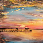 Heather Torres Art | Healing | watercolor painting of colorful lake landscape at sunset