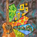 Heather Torres Art | Lush Life Guitar 1 | watercolor painting of guitar with colorful patterns and cityscape