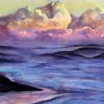 Heather Torres Art | Majestic skies | watercolor painting of colorful, ethereal beach landscape and clouds