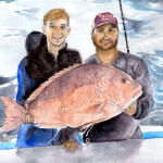 Heather Torres Art | Margaret's Boys | watercolor painting of portrait of two young men with a fish