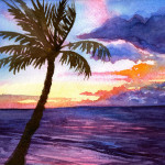Heather Torres Art | Maui Sunset | watercolor painting of pink, purple, and orange ocean sunset