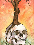 Heather Torres Art | Ominous | watercolor painting of skull, tree, and crow