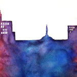 Heather Torres Art | Orlando Skyline | watercolor painting of Orlando, Lake Eola in rainbow colors