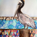 Heather Torres Art | Pelican Whimsy | watercolor painting of pelican with background inspired by Klimt