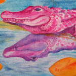 Heather Torres Art | Pink Alligator | watercolor painting of pink alligator