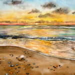 Heather Torres Art | Soothing | colorful watercolor painting of sunset and waves