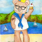 Heather Torres Art | Teddy Bear Sailor | watercolor illustration of prince, bear with tattoo holding cupcake