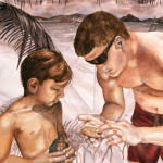 Heather Torres Art | The Sand Dollar | watercolor painting of portrait of boy and man looking at a sand dollar