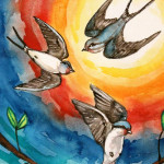 Heather Torres Art | Three Little Birds | watercolor painting of three sparrows flying with colorful sunny background