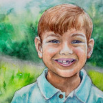 Heather Torres Art |ToothySmile | watercolor painting of a portrait of a young boy