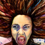 Heather Torres Art | wild Haired Scream | watercolor painting of woman screaming, portrait