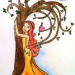 Heather Torres Art | Tree Hugger | watercolor painting of girl hugging tree illustration