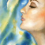 Heather Torres Art | Breathe | watercolor painting of womans profile