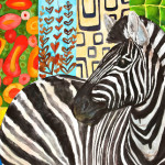 Heather Torres Art |Zebra Prints | colorful watercolor painting of zebra inspired by Klimt
