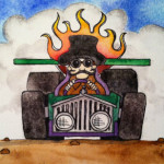 Heather Torres Art | Zoom | watercolor painting of steam man driving steampunk car