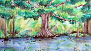 Cypress Tree watercolor, banyan tree watercolor, watercolor tree, Heather Torres Art,