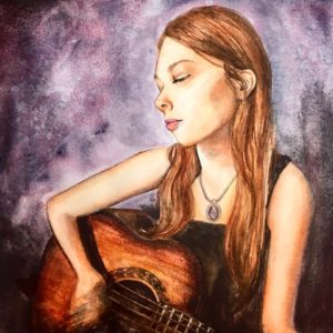 music watercolor, musician watercolor, guitar watercolor portrait