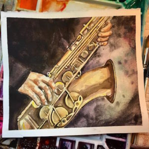 saxophone watercolor painting