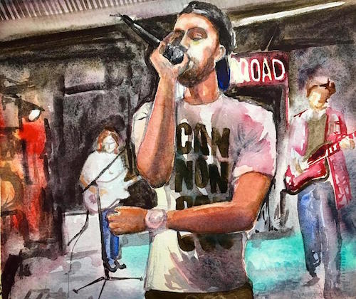 singer watercolor painting