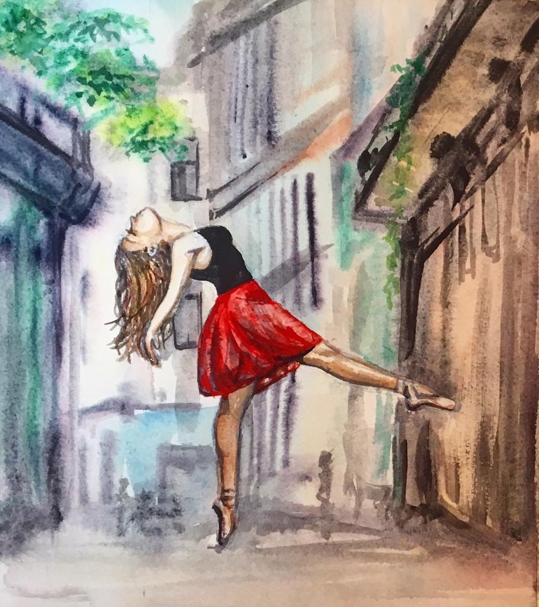 ballerina watercolor, ballerina dancer painting, dancer painting, dancer watercolor