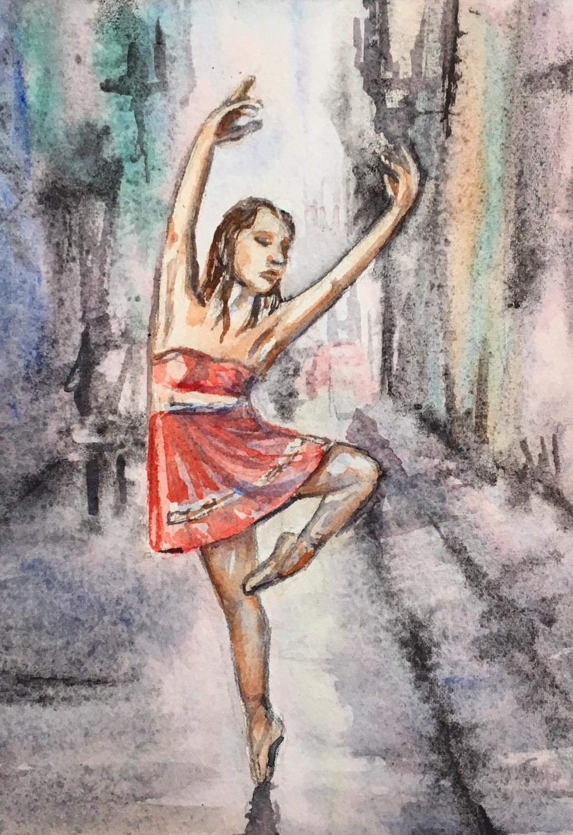 Tiny Dancer Watercolor, Ballerina Watercolor, Dancer Painting