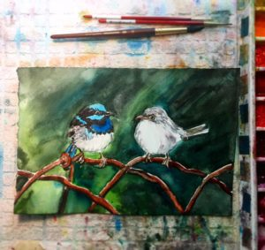 Blue Wren Birds Watercolor