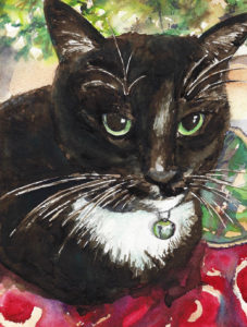 Black Cat Watercolor Portrait