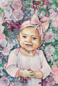 baby watercolor portrait, Heather Torres Art