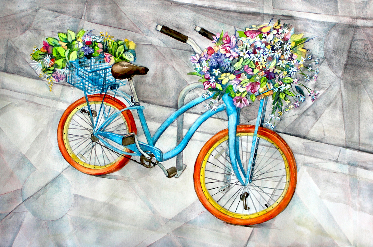 watercolor, bicycle, watercolor bicycle, bicycle art